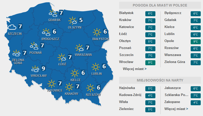 Prognoza pogody na święta /INTERIA.PL