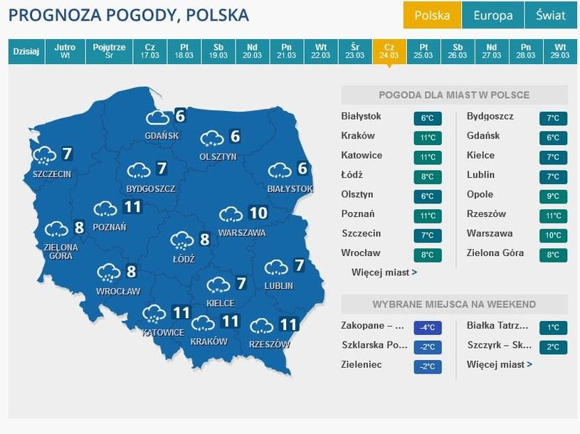 Prognoza pogody na Wielki Czwartek /INTERIA.PL