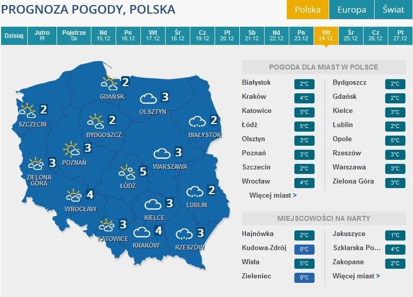 Prognoza pogody na Wigilię /INTERIA.PL