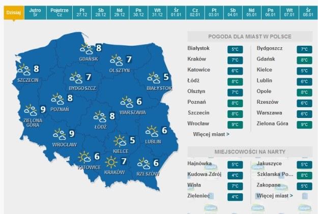 Prognoza pogody na Wigilię /pogoda.interia.pl /INTERIA.PL