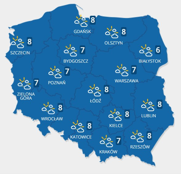 Prognoza pogody na wtorek (09.11) /INTERIA.PL