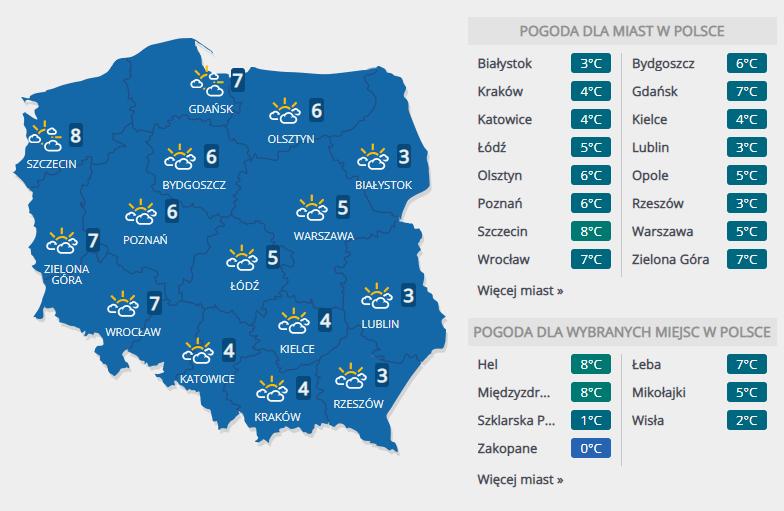 Prognoza pogody na wtorek, 1 stycznia /INTERIA.PL