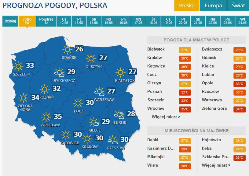 Prognoza pogody na wtorek - 10 czerwca. /INTERIA.PL