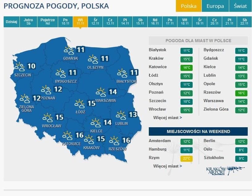 Prognoza pogody na wtorek 11 listopada /INTERIA.PL