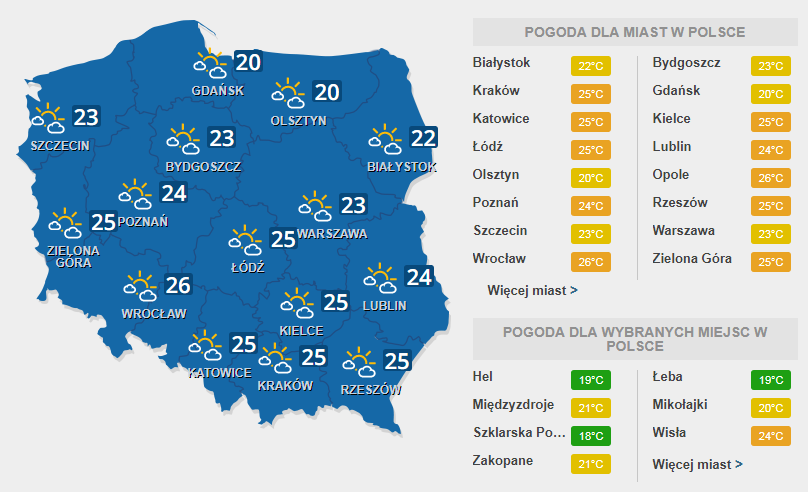 Prognoza pogody na wtorek, 18 lipca /INTERIA.PL