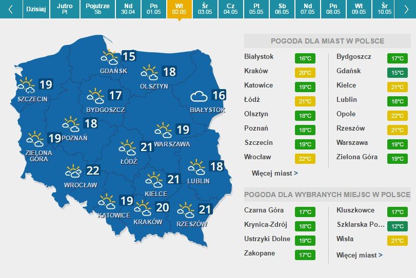 Prognoza pogody na wtorek, 2 maja /INTERIA.PL
