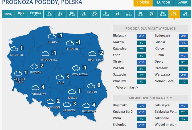 Prognoza pogody na wtorek 21 stycznia /INTERIA.PL