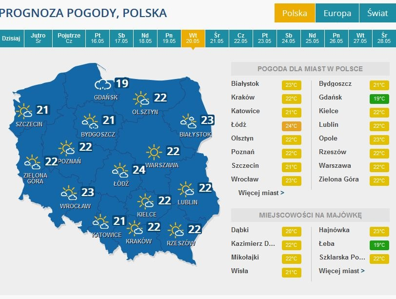 Prognoza pogody na wtorek, 24 maja /INTERIA.PL