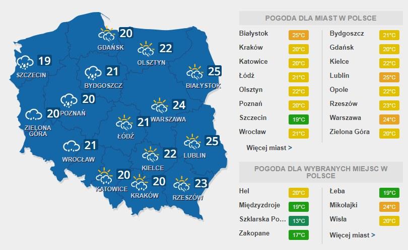 Prognoza pogody na wtorek, 25 lipca /INTERIA.PL
