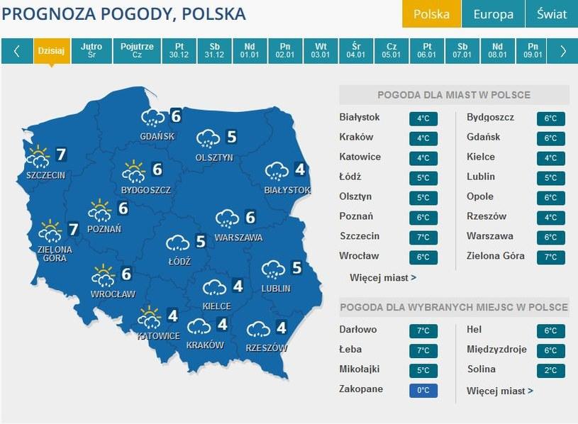 Prognoza pogody na wtorek 27 grudnia /INTERIA.PL