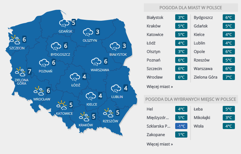 Prognoza pogody na wtorek, 30 stycznia /INTERIA.PL