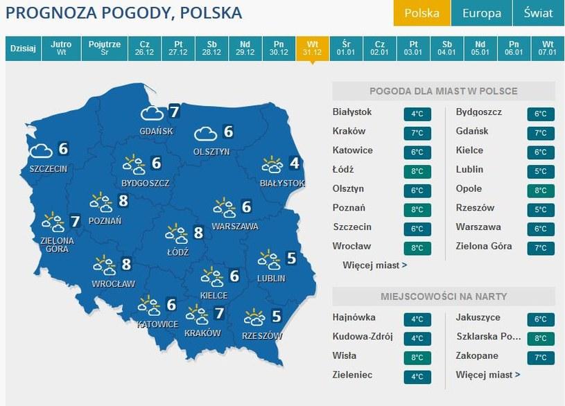 Prognoza pogody na wtorek, 31 grudnia /INTERIA.PL