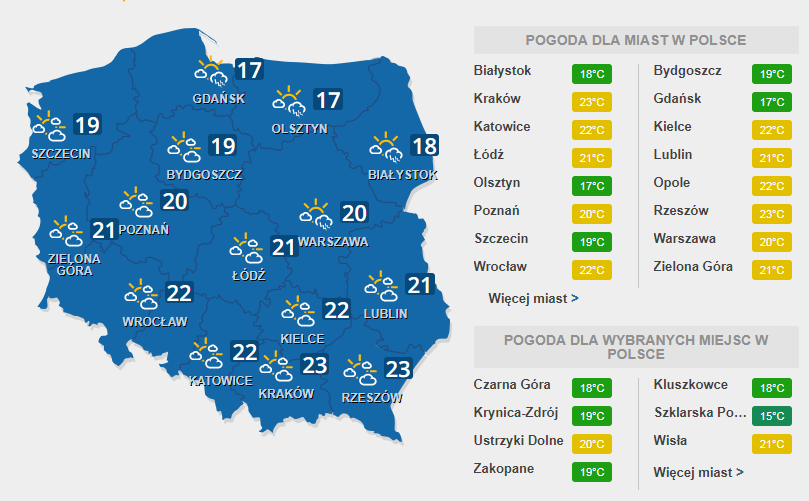 Prognoza pogody na wtorek, 4 lipca /INTERIA.PL