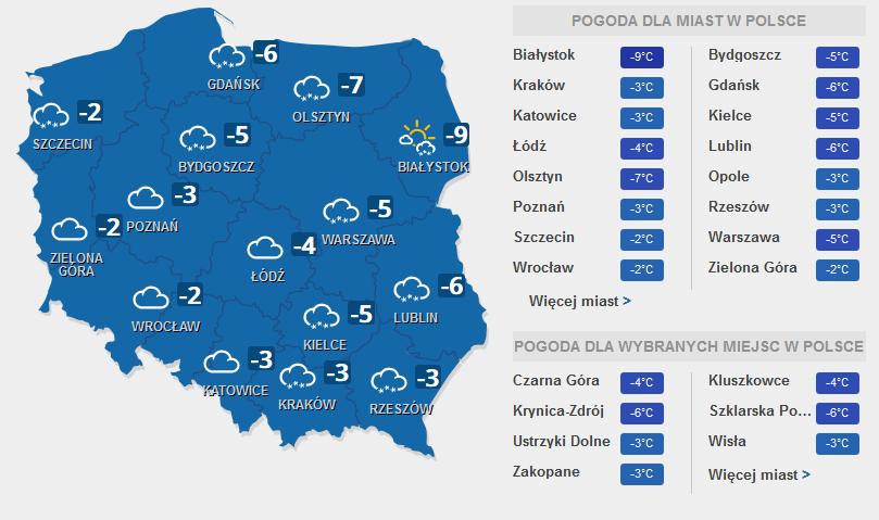 Prognoza pogody na wtorek, 7 lutego /INTERIA.PL