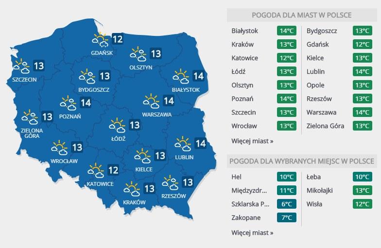 Prognoza pogody na wtorek, 7 maja /INTERIA.PL