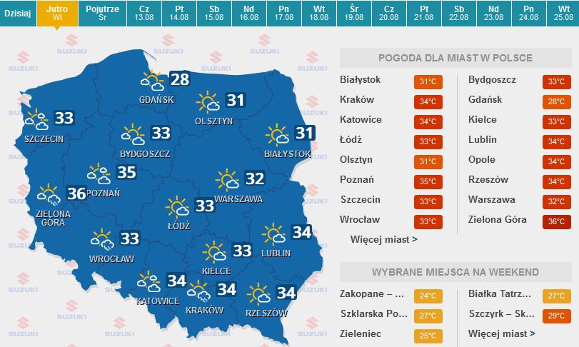 Prognoza pogody na wtorek /pogoda.interia.pl /INTERIA.PL