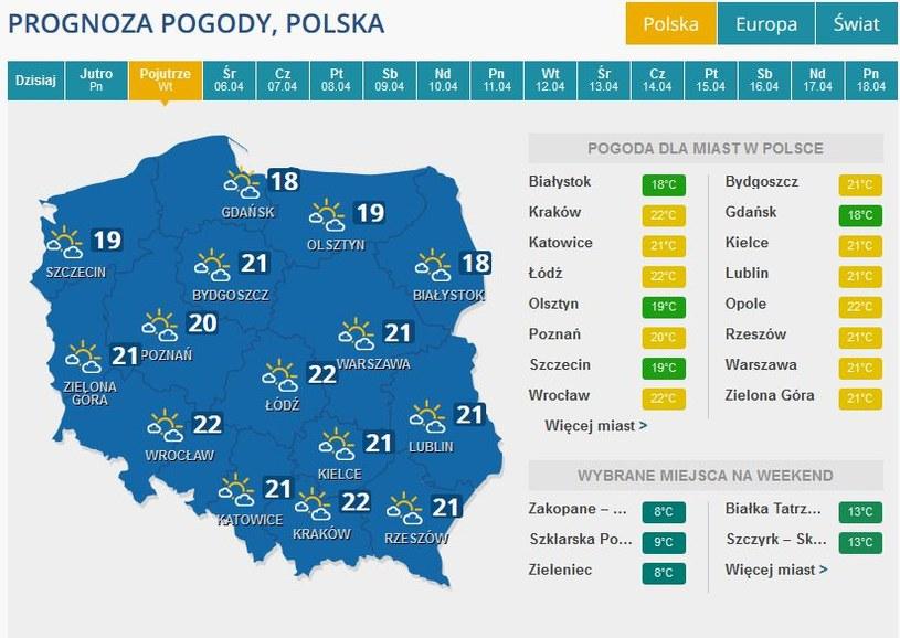 Prognoza pogody na wtorek /PAP/EPA