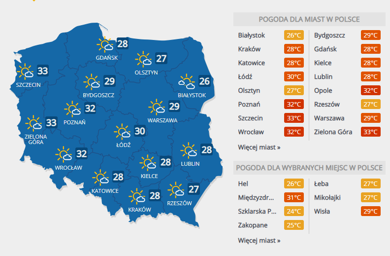 Prognoza pogody na wtorek /Interia.pl /