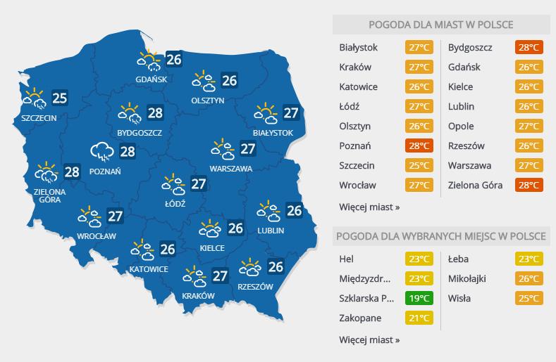 Prognoza pogody, niedziela 17 czerwca 2018 r. /INTERIA.PL