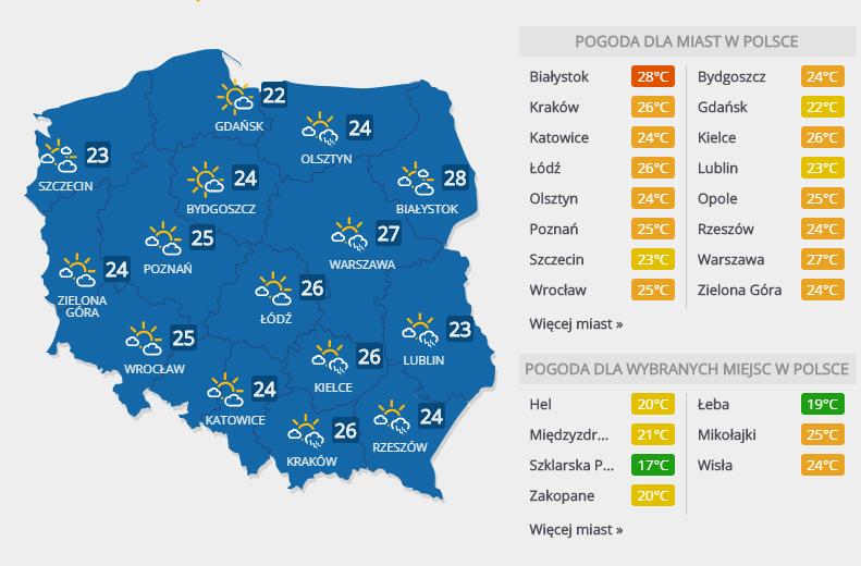 Prognoza pogody, poniedziałek 18 czerwca 2018 r. /INTERIA.PL