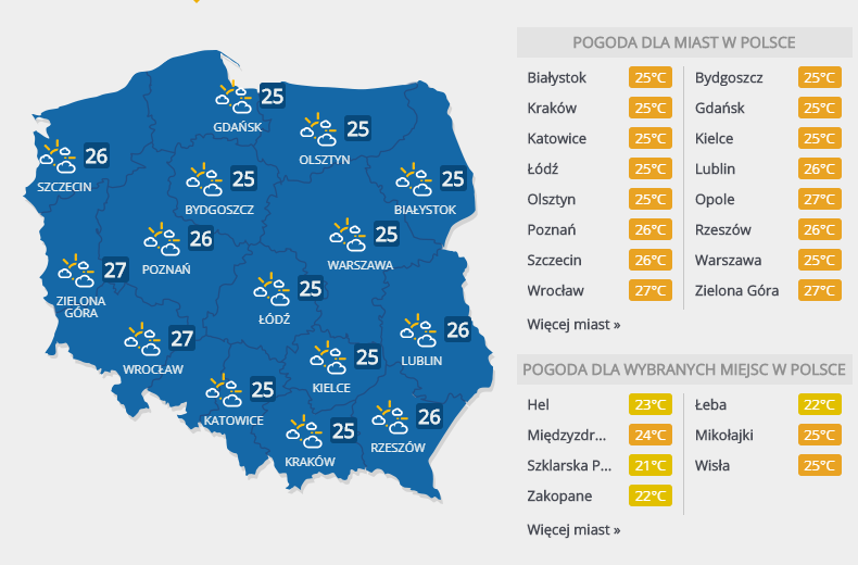 Prognoza pogody, sobota 21 lipca /INTERIA.PL