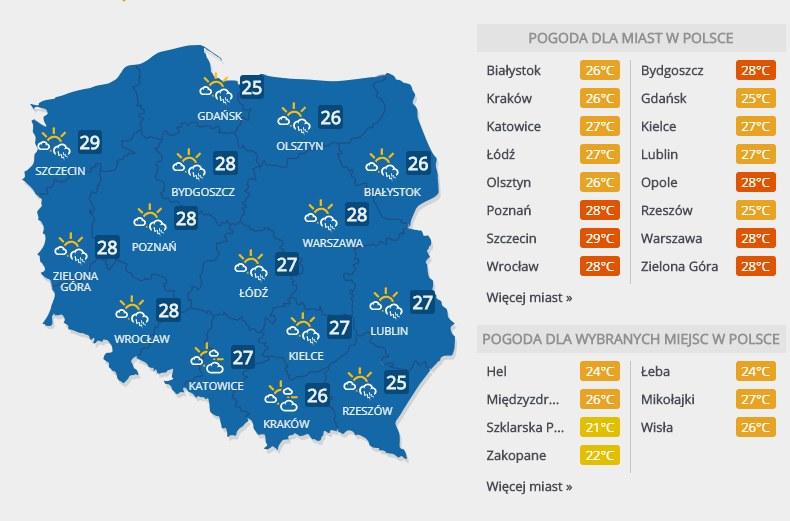 Prognoza pogody, środa 25 lipca /INTERIA.PL