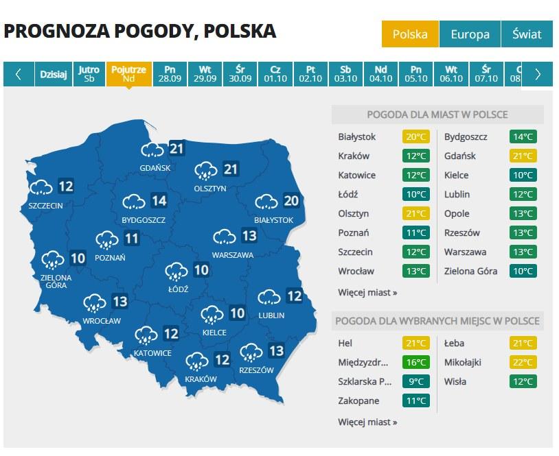 Prognoza pogody w niedzielę /INTERIA.PL