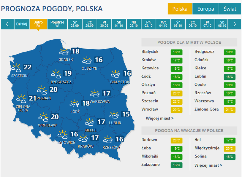 Prognoza pogody w poniedziałek /INTERIA.PL