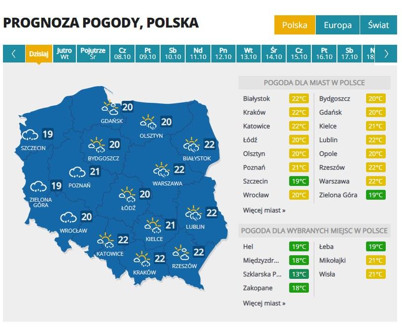 Prognoza pogody w poniedziałek /INTERIA.TV