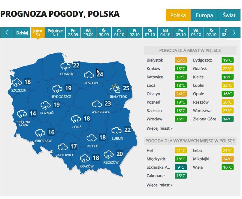 Prognoza pogody w sobotę /INTERIA.PL