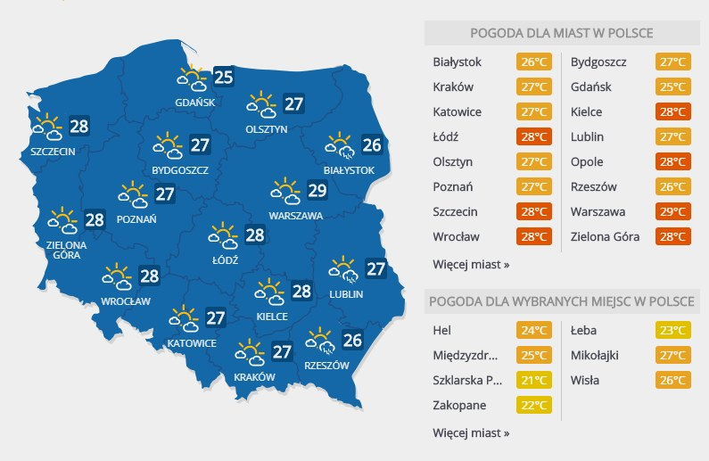 Prognoza pogody, wtorek 24 lipca /INTERIA.PL