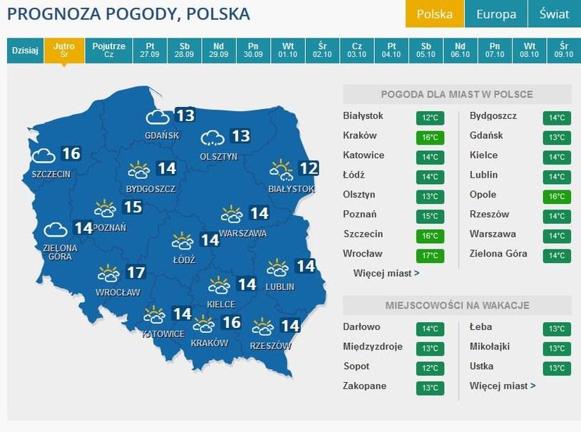 Prognoza ppogody na środę /INTERIA.PL