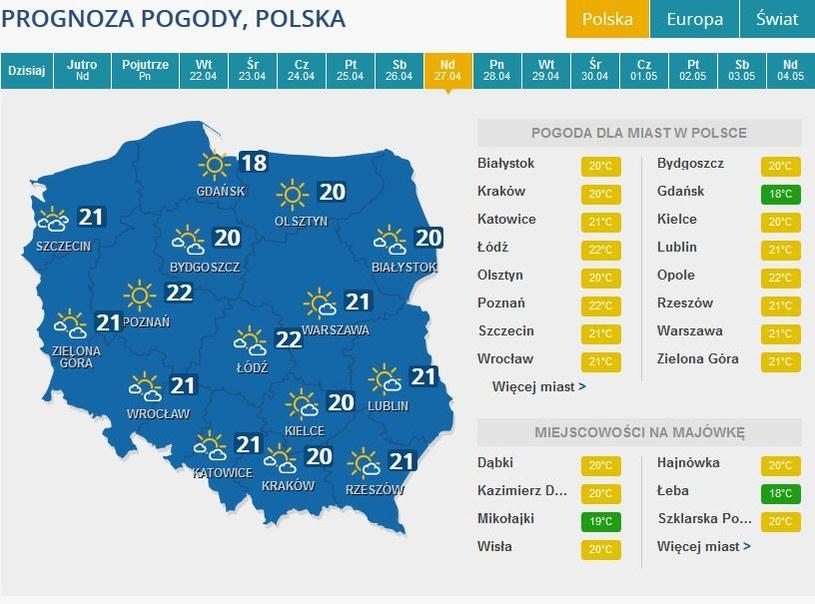 Prognozy na niedzielę /INTERIA.PL