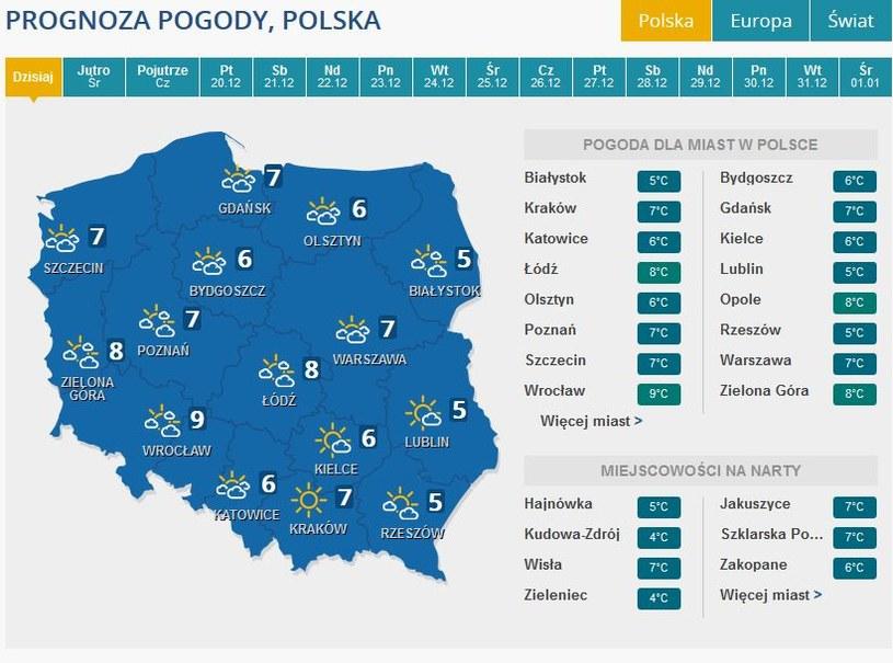 Prognozy na wtorek /INTERIA.PL