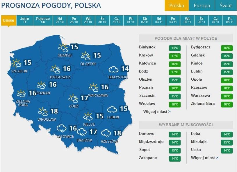Prognozy pogody na czwartek /INTERIA.PL