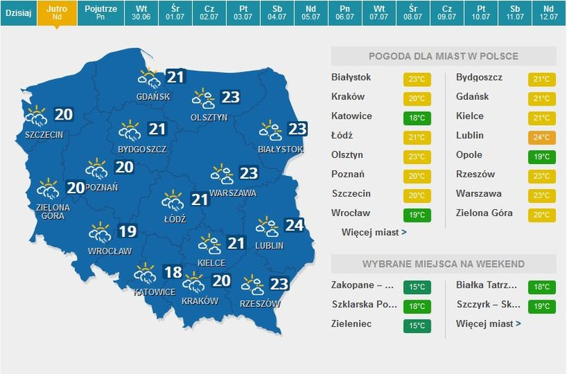 Prognozy pogody na jutro /INTERIA.PL