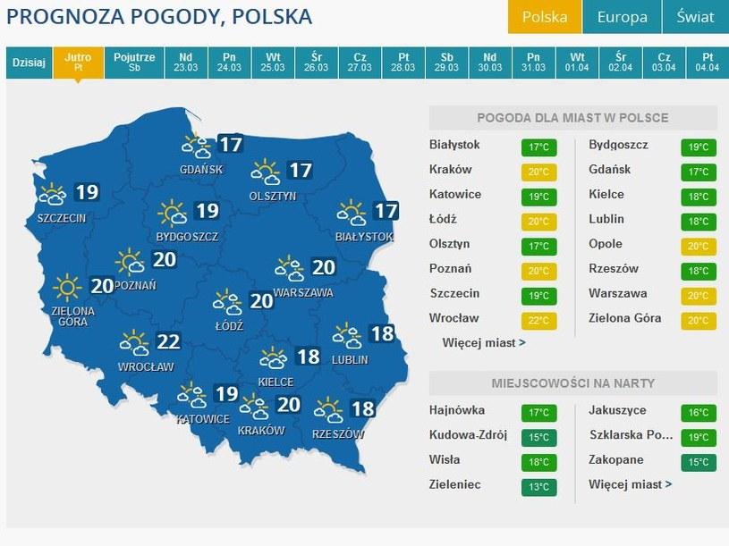 Prognozy pogody na piątek /INTERIA.PL