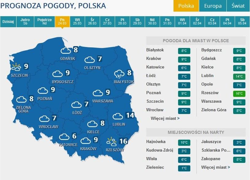 Prognozy pogody na poniedziałek /INTERIA.PL