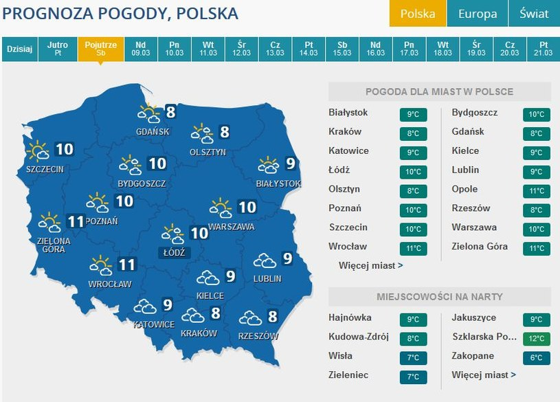 Prognozy pogody na sobotę /INTERIA.PL