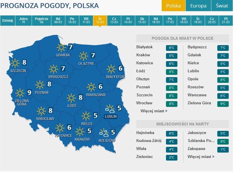 Prognozy pogody na środę /INTERIA.PL