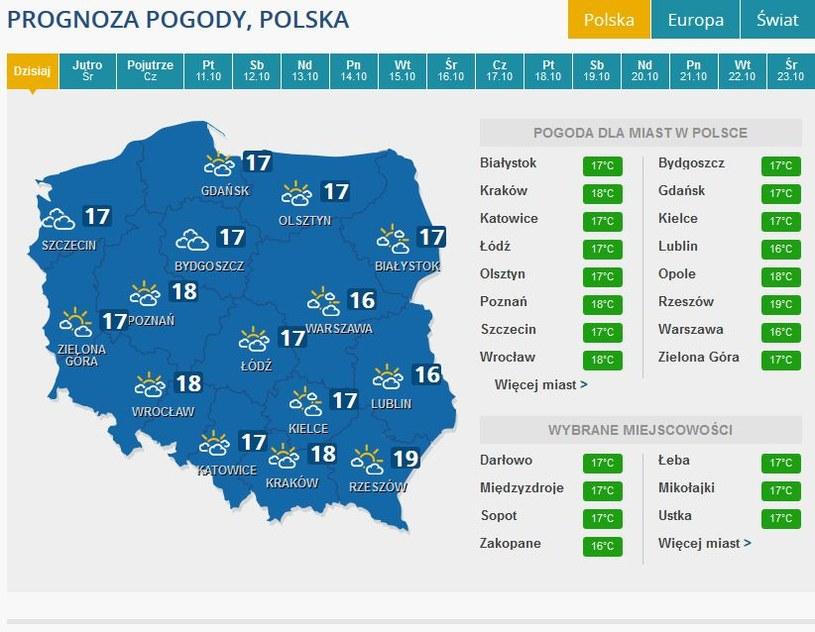Prognozy pogody na wtorek /INTERIA.PL