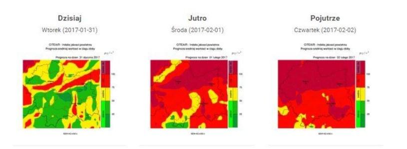 Prognozy zanieczyszczenia powietrza na najbliższe dni /źródło: monitoring.krakow.pios.gov.pl /