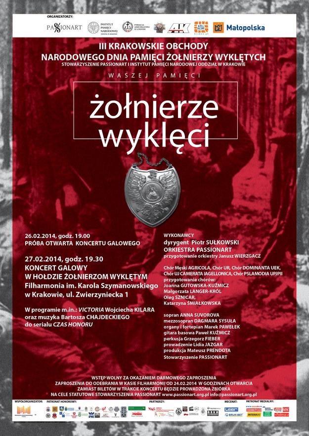 Program koncertu galowego III Krakowskich Obchodów Narodowego Dnia Pamięci Żołnierzy Wyklętych /IPN