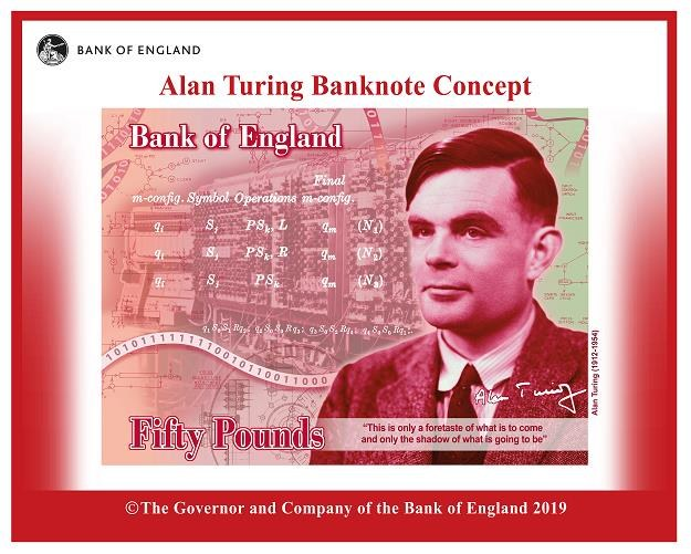 Projekt banknotu 50-funtowego z podobizną Alana Turinga /EPA