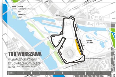 Projekt ulicznego toru w Warszawie. /