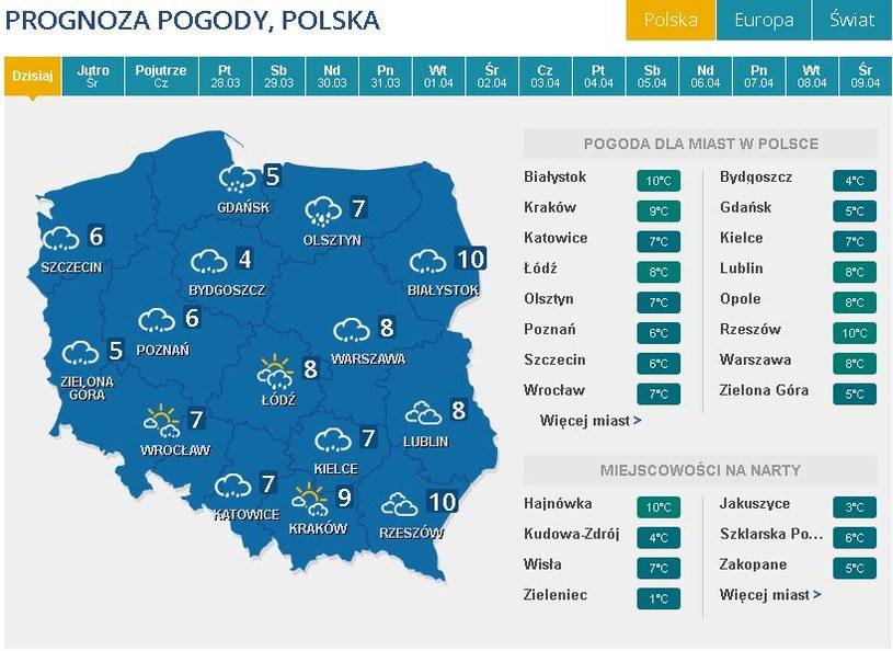 Pronoza pogody na wtorek /INTERIA.PL