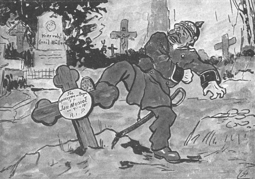 Propagandowa pocztówka polska wydawana w okresie plebiscytu, piętnujące terror niemiecki na Śląsku. Autorem pocztówki był Stanisław Ligoń /Z archiwum Narodowego Archiwum Cyfrowego