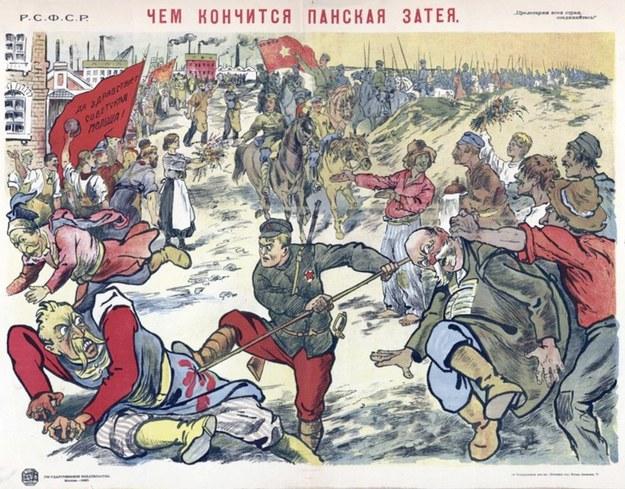 Propagandowy plakat sowiecki: Polacy witają Armię Czerwoną kwiatami /