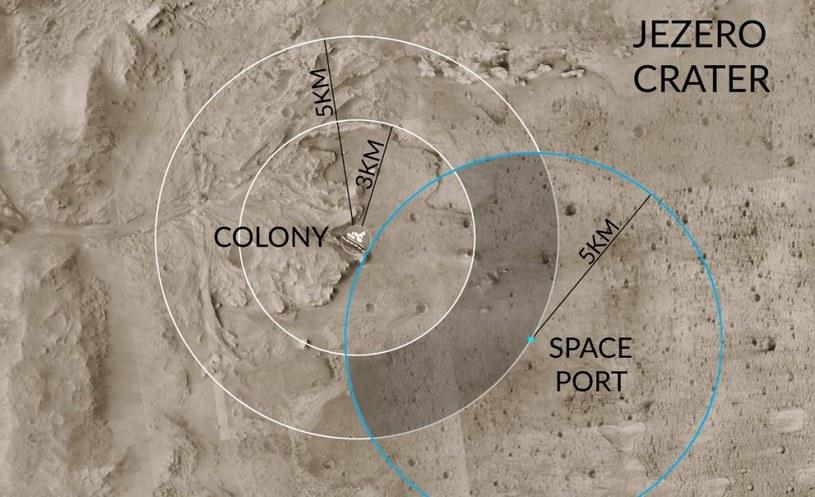 Proponowana pozycja bazy Twardowsky wewnątrz krateru Jezero /materiały prasowe