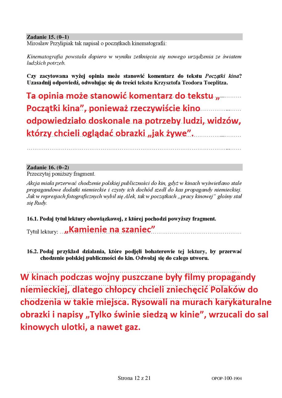 Proponowane odpowiedzi - egzamin ósmoklasisty, język polski /RMF FM